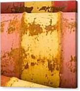 Rusty Oil Barrels Yellow Red Background Pattern Canvas Print