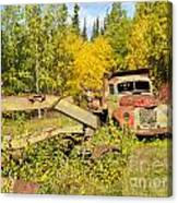 Rusty Truck And Grader Forgotten In Fall Forest Canvas Print