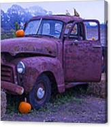 Rusty Truck With Pumpkins Canvas Print
