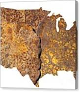Rusty Usa Map Canvas Print