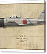 Saburo Sakai A6m Zero - Map Background Canvas Print