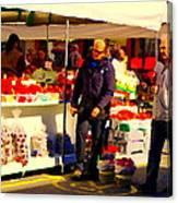 Sacks Of Potatoes Red Pepper Pots Tomato Baskets Marche Jean Talon Montreal Scenes Carole Spandau Canvas Print