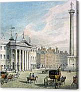 Sackville Street, Dublin, Showing The Post Office And Nelsons Column Canvas Print