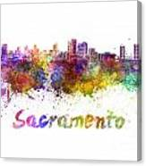 Sacramento Skyline In Watercolor Canvas Print