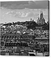 Sacre Coeur Over Rooftops Black And White Version Canvas Print
