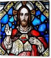 Sacred Heart Of Jesus In Stained Glass Canvas Print