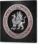 Sacred Silver Griffin On Black Leather Canvas Print