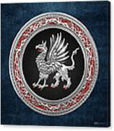 Sacred Silver Griffin On Blue Leather Canvas Print