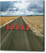 Safety Cones Lined Up Across A Rural Canvas Print