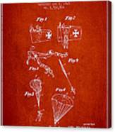 Safety Parachute Patent From 1925 - Red Canvas Print