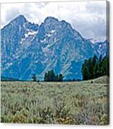 Sagebrush Flatland And Teton Peaks Near Jenny Lake In Grand Teton National Park-wyoming- Canvas Print