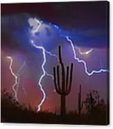 Saguaro Lightning Nature Fine Art Photograph Canvas Print