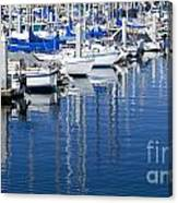 Sail Boats Docked In Marina Canvas Print
