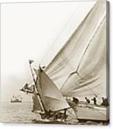 Sail Boats Little Anne And Virginia Collision On San Francisco Bay Circa 1886 Canvas Print