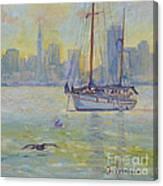Sailboat Anchored At Sunset Canvas Print