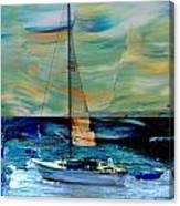 Sailboat And Abstract Canvas Print