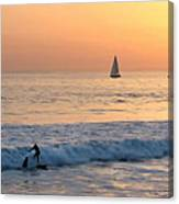 Sailboats And Surfers Canvas Print