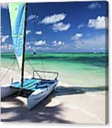 Sailboat At Caribbean Sea Canvas Print