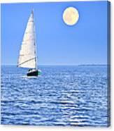 Sailboat At Full Moon Canvas Print