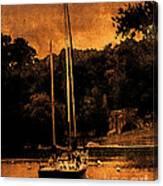 Sailboat By The Bridge Canvas Print