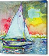 Sailboat Evening Wc On Paper Canvas Print