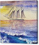 Sailboat In The Ocean Canvas Print