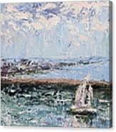 Sailboat In The Waukegan Harbor Canvas Print
