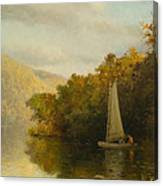 Sailboat On River Canvas Print