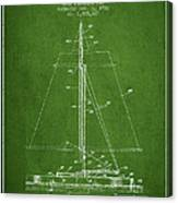 Sailboat Patent From 1932 - Green Canvas Print
