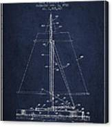 Sailboat Patent From 1932 - Navy Blue Canvas Print