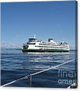 Sailboat Sees Ferryboat Canvas Print