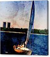 Sailboat Tilted Towers W Metal Canvas Print