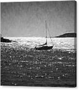 Sailboat And Islands In Maine Canvas Print