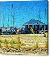 Sailboats Boat Harbor - Quiet Day At The Harbor Canvas Print