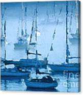 Sailboats In The Fog II Canvas Print