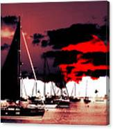 Sailboats In The Marina Surreal 2 Canvas Print