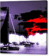 Sailboats In The Marina Surreal 3 Canvas Print