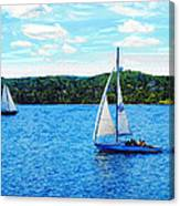 Sailboats In The Summer Canvas Print
