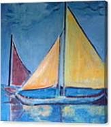 Sailboats With Red And Yellow Sails Canvas Print