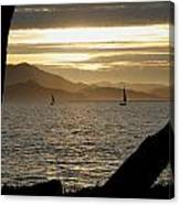 Sailing At Sunset On The Bay Canvas Print