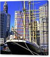 Sailing Boat Anchored In South Street Seaport 1984 Canvas Print