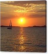 Sailing Boat In Ibiza Sunset Canvas Print