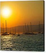Sailing Boats On Sea At Sunset  Canvas Print