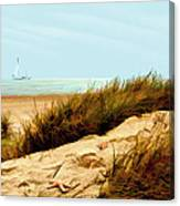 Sailing By Sand Dune Canvas Print