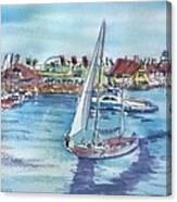 Sailing By Shoreline Village Canvas Print