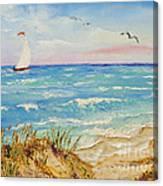 Sailing By The Beach Canvas Print