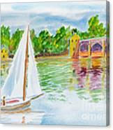 Sailing By The Bridge Canvas Print