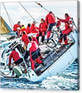 Sailing Crew On Sailboat During Regatta Canvas Print