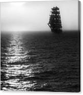 Sailing Out Of The Fog - Black And White Canvas Print