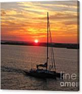 Sailing Past The Sunset Canvas Print